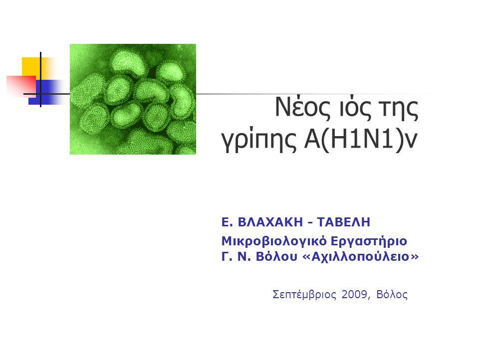 Νέος ιός της γρίπης Α(Η1Ν1)v Ε. ΒΛΑΧΑΚΗ - ΤΑΒΕΛΗ Μικροβιολογικό Εργαστήριο Γ. Ν. Βόλου «Αχιλλοπούλειο» Σεπτέμβριος 2009, Βόλος