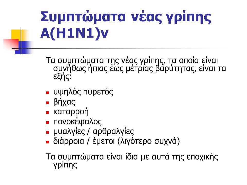 Συμπτώματα νέας γρίπης Α(Η1Ν1)v Τα συμπτώματα της νέας γρίπης, τα οποία είναι συνήθως ήπιας έως μέτριας βαρύτητας, είναι τα εξής: υψηλός πυρετός βήχας