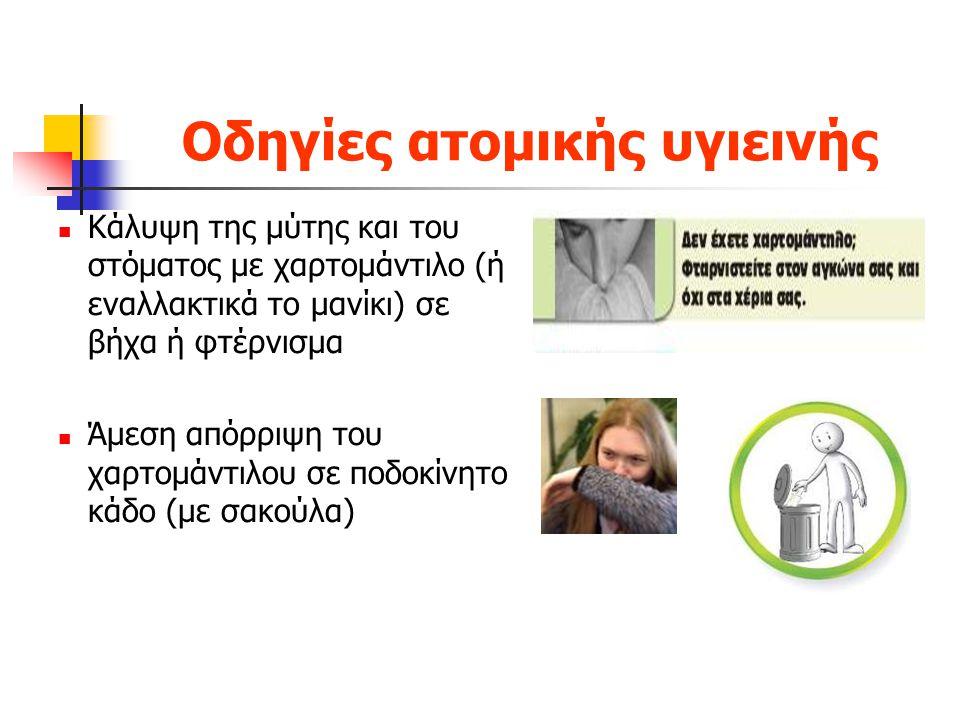 Οδηγίες ατομικής υγιεινής Κάλυψη της μύτης και του στόματος με χαρτομάντιλο (ή εναλλακτικά το μανίκι) σε βήχα ή φτέρνισμα Άμεση απόρριψη του χαρτομάντ