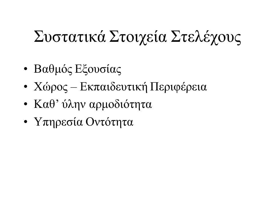 Κατηγορίες Στελεχών στην Ελλάδα Διευθυντές Περιφερειακών Δ/νσεων Εκπαίδευσης Διευθυντές Διευθύνσεων – Προϊστάμενοι Γραφείων Εκπαίδευσης Διευθυντές – Υποδιευθυντές Σχολικών Μονάδων και ΣΕΚ – υπεύθυνοι τομέων ΣΕΚ Προϊστάμενοι Εκπαιδευτικών Θεμάτων Σχολικοί Σύμβουλοι