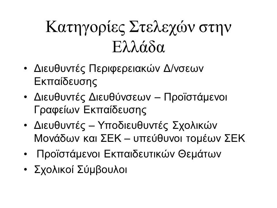 Κατηγορίες Στελεχών στην Ελλάδα Διευθυντές Περιφερειακών Δ/νσεων Εκπαίδευσης Διευθυντές Διευθύνσεων – Προϊστάμενοι Γραφείων Εκπαίδευσης Διευθυντές – Υ