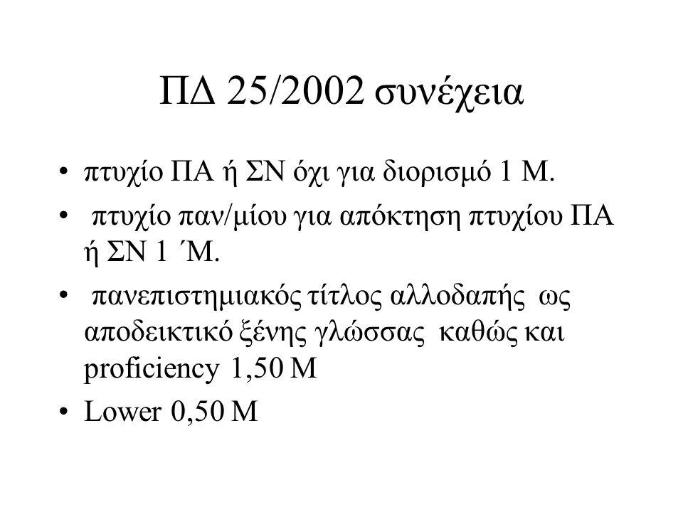 ΠΔ 25/2002 συνέχεια πτυχίο ΠΑ ή ΣΝ όχι για διορισμό 1 Μ. πτυχίο παν/μίου για απόκτηση πτυχίου ΠΑ ή ΣΝ 1 ΄Μ. πανεπιστημιακός τίτλος αλλοδαπής ως αποδει