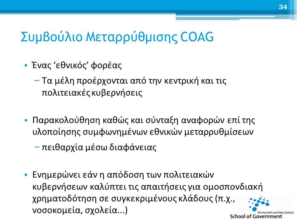 Συμβούλιο Μεταρρύθμισης COAG Ένας 'εθνικός' φορέας – Τα μέλη προέρχονται από την κεντρική και τις πολιτειακές κυβερνήσεις Παρακολούθηση καθώς και σύνταξη αναφορών επί της υλοποίησης συμφωνημένων εθνικών μεταρρυθμίσεων – πειθαρχία μέσω διαφάνειας Ενημερώνει εάν η απόδοση των πολιτειακών κυβερνήσεων καλύπτει τις απαιτήσεις για ομοσπονδιακή χρηματοδότηση σε συγκεκριμένους κλάδους (π.χ., νοσοκομεία, σχολεία...) 34