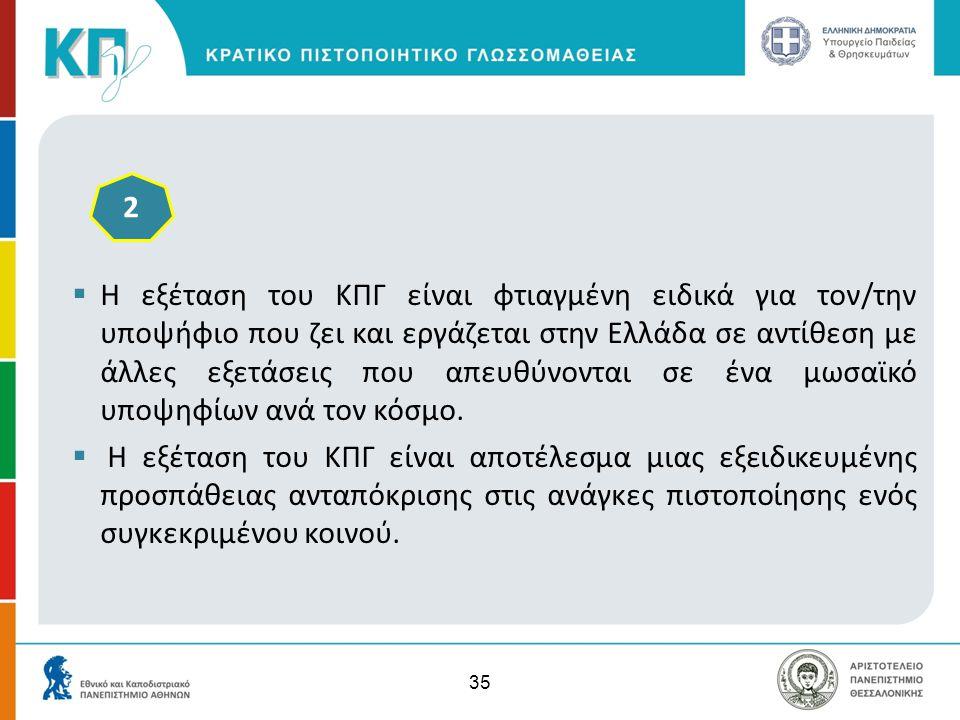 35  Η εξέταση του ΚΠΓ είναι φτιαγμένη ειδικά για τον/την υποψήφιο που ζει και εργάζεται στην Ελλάδα σε αντίθεση με άλλες εξετάσεις που απευθύνονται σ