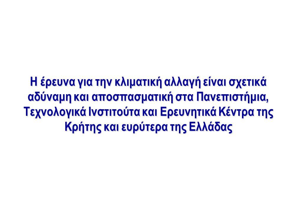 Η έρευνα για την κλιματική αλλαγή είναι σχετικά αδύναμη και αποσπασματική στα Πανεπιστήμια, Τεχνολογικά Ινστιτούτα και Ερευνητικά Κέντρα της Κρήτης και ευρύτερα της Ελλάδας