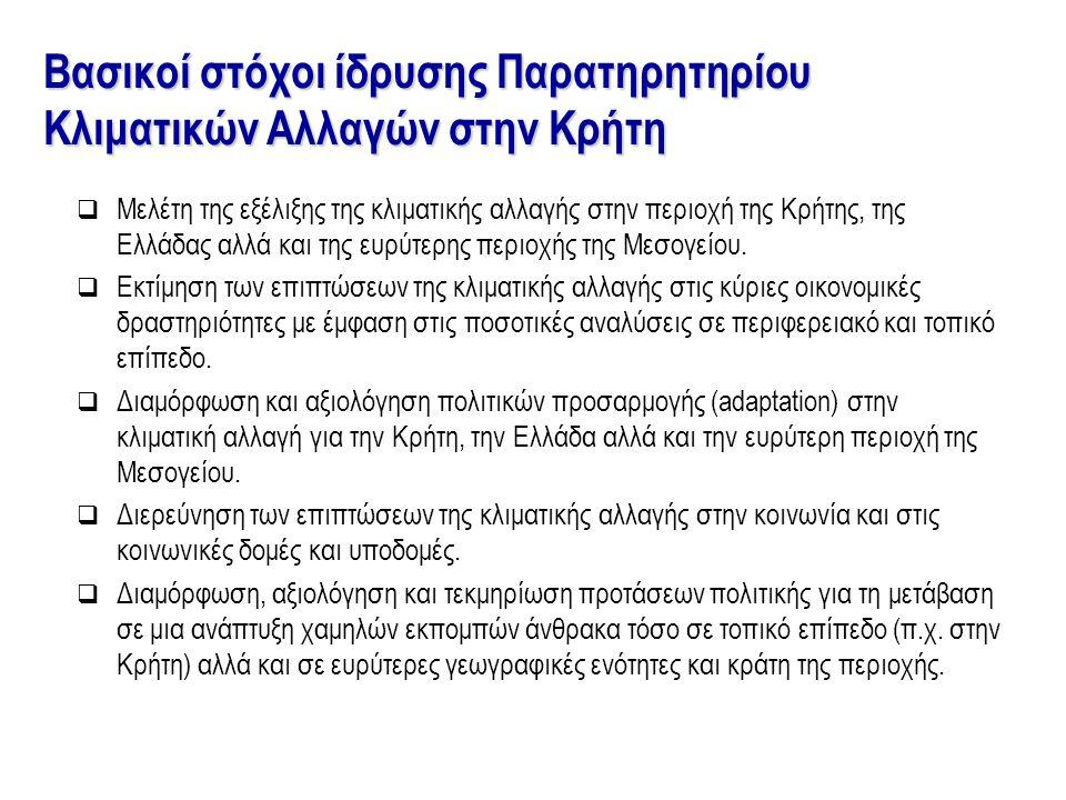  Μελέτη της εξέλιξης της κλιματικής αλλαγής στην περιοχή της Κρήτης, της Ελλάδας αλλά και της ευρύτερης περιοχής της Μεσογείου.