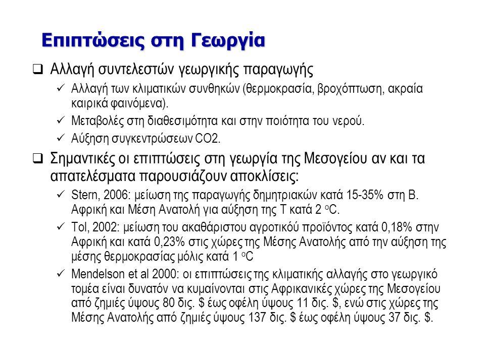 Επιπτώσεις στη Γεωργία /Αποτελέσματα του PESETA project