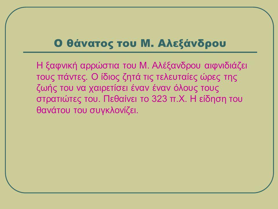 Η υστεροφημία του Μ.Αλεξάνδρου Το όνομα του Μ.