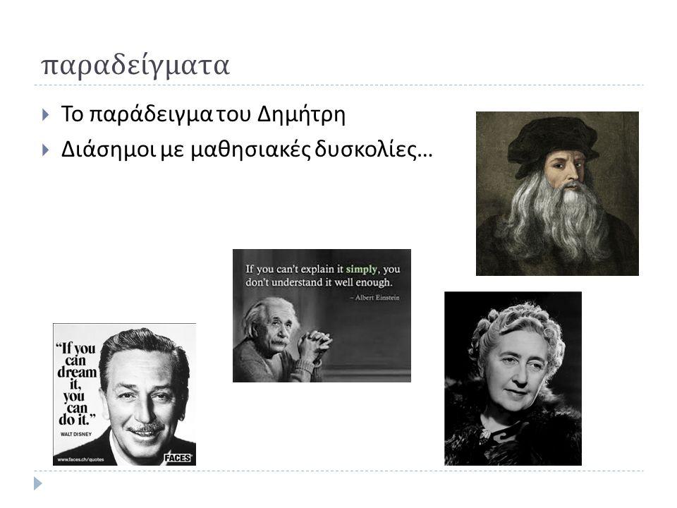 παραδείγματα  Το παράδειγμα του Δημήτρη  Διάσημοι με μαθησιακές δυσκολίες …