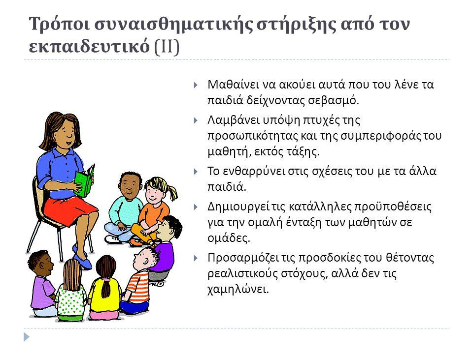 Τρόποι συναισθηματικής στήριξης από τον εκπαιδευτικό ( ΙΙ )  Μαθαίνει να ακούει αυτά που του λένε τα παιδιά δείχνοντας σεβασμό.