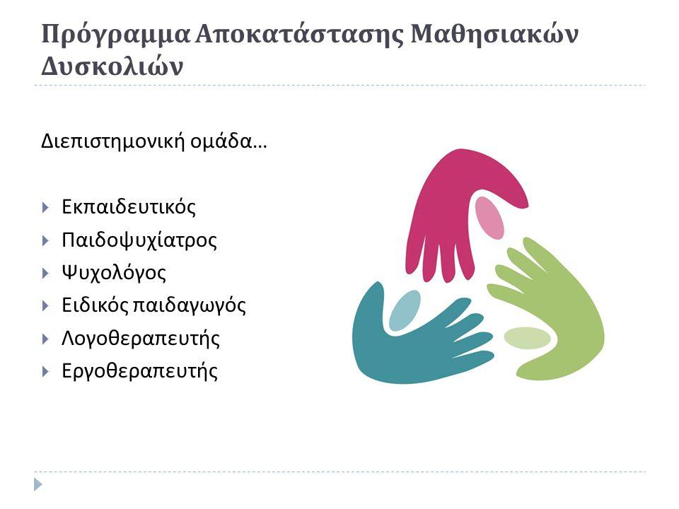 Πρόγραμμα Αποκατάστασης Μαθησιακών Δυσκολιών Διεπιστημονική ομάδα …  Εκπαιδευτικός  Παιδοψυχίατρος  Ψυχολόγος  Ειδικός παιδαγωγός  Λογοθεραπευτής  Εργοθεραπευτής