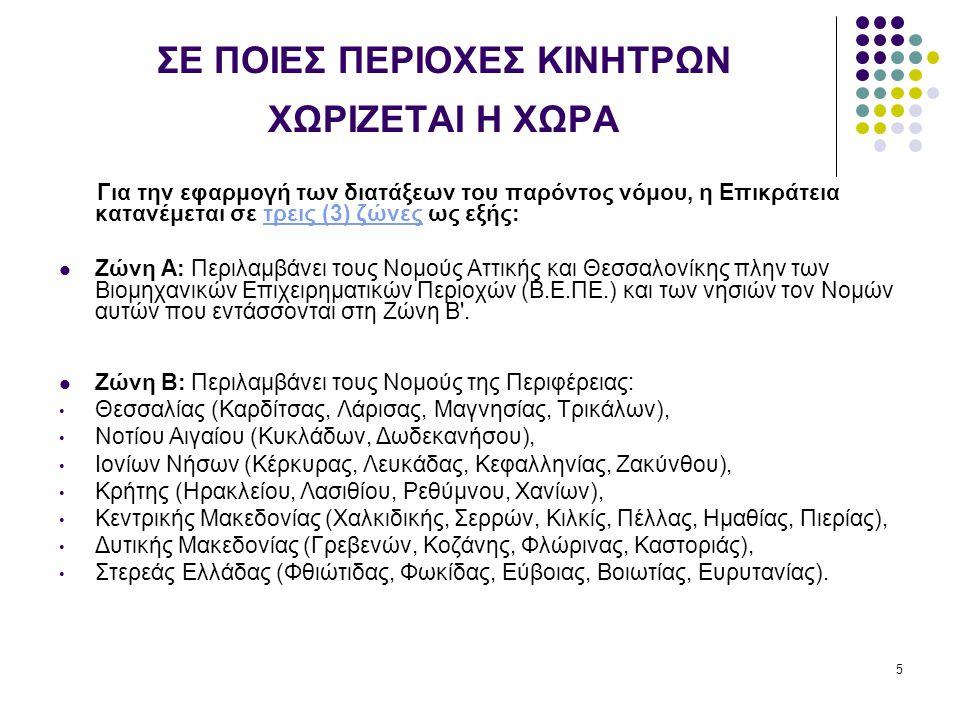 5 ΣΕ ΠΟΙΕΣ ΠΕΡΙΟΧΕΣ ΚΙΝΗΤΡΩΝ ΧΩΡΙΖΕΤΑΙ Η ΧΩΡΑ Για την εφαρμογή των διατάξεων του παρόντος νόμου, η Επικράτεια κατανέμεται σε τρεις (3) ζώνες ως εξής:τρεις (3) ζώνες Ζώνη Α: Περιλαμβάνει τους Νομούς Αττικής και Θεσσαλονίκης πλην των Βιομηχανικών Επιχειρηματικών Περιοχών (Β.Ε.ΠΕ.) και των νησιών τον Νομών αυτών που εντάσσονται στη Ζώνη Β .