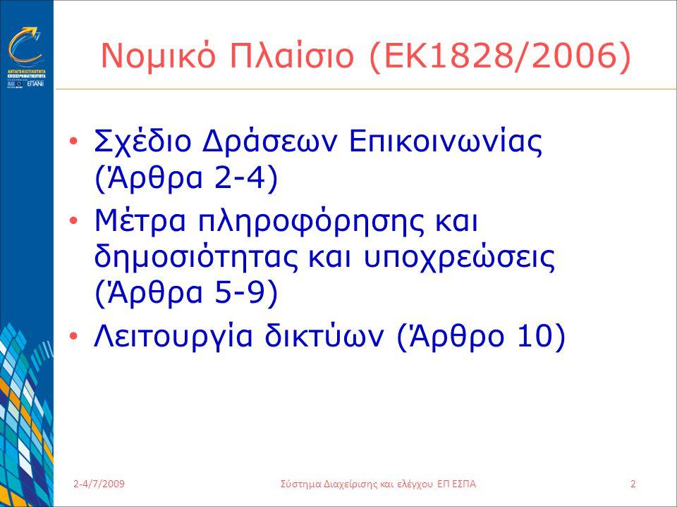 2-4/7/2009Σύστημα Διαχείρισης και ελέγχου ΕΠ ΕΣΠΑ2 Νομικό Πλαίσιο (ΕΚ1828/2006) Σχέδιο Δράσεων Επικοινωνίας (Άρθρα 2-4) Μέτρα πληροφόρησης και δημοσιότητας και υποχρεώσεις (Άρθρα 5-9) Λειτουργία δικτύων (Άρθρο 10)