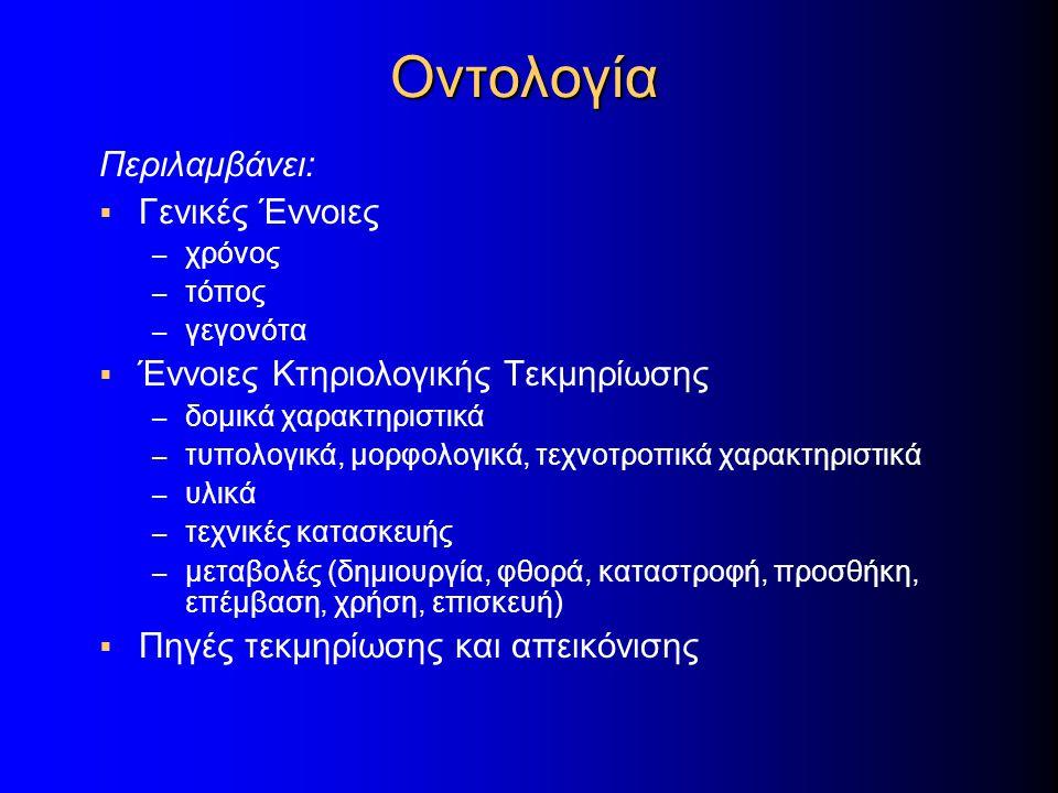 Οντολογία Περιλαμβάνει:  Γενικές Έννοιες – χρόνος – τόπος – γεγονότα  Έννοιες Κτηριολογικής Τεκμηρίωσης – δομικά χαρακτηριστικά – τυπολογικά, μορφολ