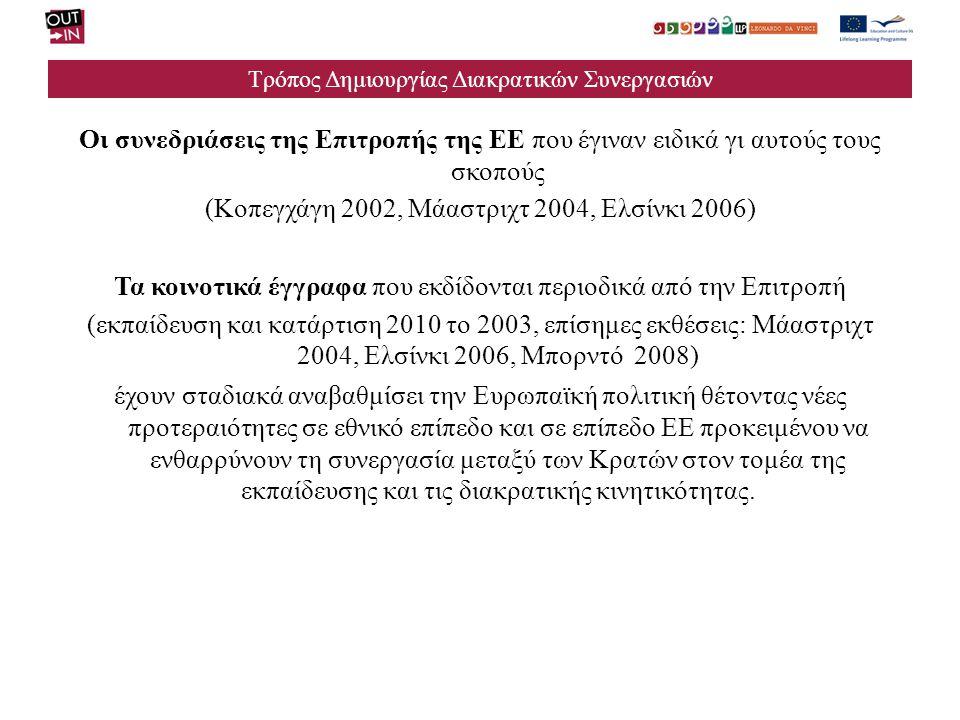 Τρόπος Δημιουργίας Διακρατικών Συνεργασιών 2006 Η παρουσίαση των νέων προγραμμάτων Δια Βίου Μάθησης προωθεί την διακρατική συνεργασία τις ανταλλαγές μεταξύ των εκπαιδευτικών ιδρυμάτων.