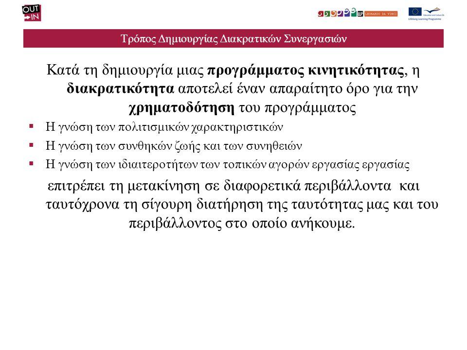 Τρόπος Δημιουργίας Διακρατικών Συνεργασιών Κατά την ανάπτυξη του τμήματος που αφορά την Ευρωπαϊκή διάσταση του προγράμματος θα πρέπει να ληφθούν υπόψη ορισμένα πράγματα:  Όχι γενικές περιγραφές και αυτούσιες αναφορές στα έγγραφα της κοινότητας  Τεκμηριωμένες αναφορές στο διδακτικό περιεχόμενο, το περιεχόμενο της κατάρτισης, τις μεθόδους αξιολόγησης του προγράμματος και της αξιολόγησης των προσόντων  Ιδιαίτερη προσοχή στις έννοιες κλειδιά