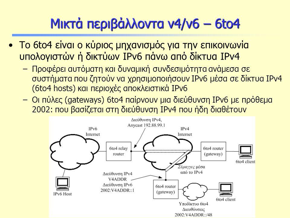 Θέματα Ασφαλείας στο IPv6 Μικτά περιβάλλοντα v4/v6 – 6to4 Το 6to4 είναι ο κύριος μηχανισμός για την επικοινωνία υπολογιστών ή δικτύων IPv6 πάνω από δίκτυα IPv4 –Προφέρει αυτόματη και δυναμική συνδεσιμότητα ανάμεσα σε συστήματα που ζητούν να χρησιμοποιήσουν IPv6 μέσα σε δίκτυα IPv4 (6to4 hosts) και περιοχές αποκλειστικά IPv6 –Οι πύλες (gateways) 6to4 παίρνουν μια διεύθυνση IPv6 με πρόθεμα 2002: που βασίζεται στη διεύθυνση IPv4 που ήδη διαθέτουν