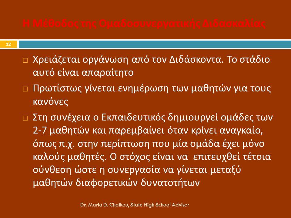 Η Μέθοδος της Ομαδοσυνεργατικής Διδασκαλίας Dr.Maria D.