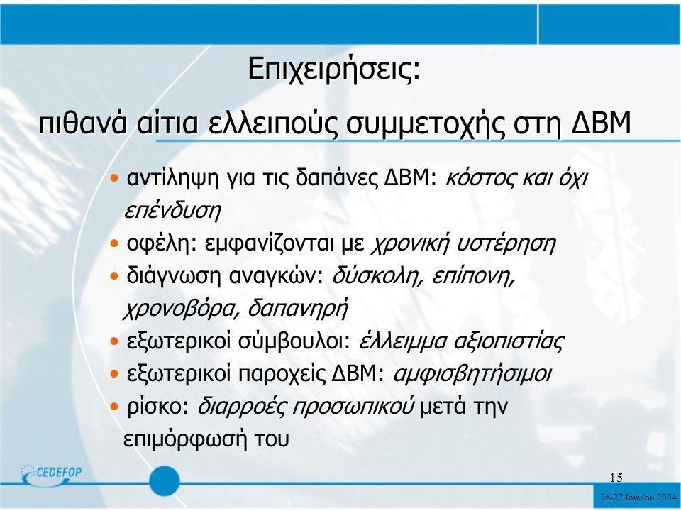 26-27 Ιουνίου 2004 15 Επιχειρήσεις: πιθανά αίτια ελλειπούς συμμετοχής στη ΔΒΜ αντίληψη για τις δαπάνες ΔΒΜ: κόστος και όχι επένδυση οφέλη: εμφανίζονται με χρονική υστέρηση διάγνωση αναγκών: δύσκολη, επίπονη, χρονοβόρα, δαπανηρή εξωτερικοί σύμβουλοι: έλλειμμα αξιοπιστίας εξωτερικοί παροχείς ΔΒΜ: αμφισβητήσιμοι ρίσκο: διαρροές προσωπικού μετά την επιμόρφωσή του