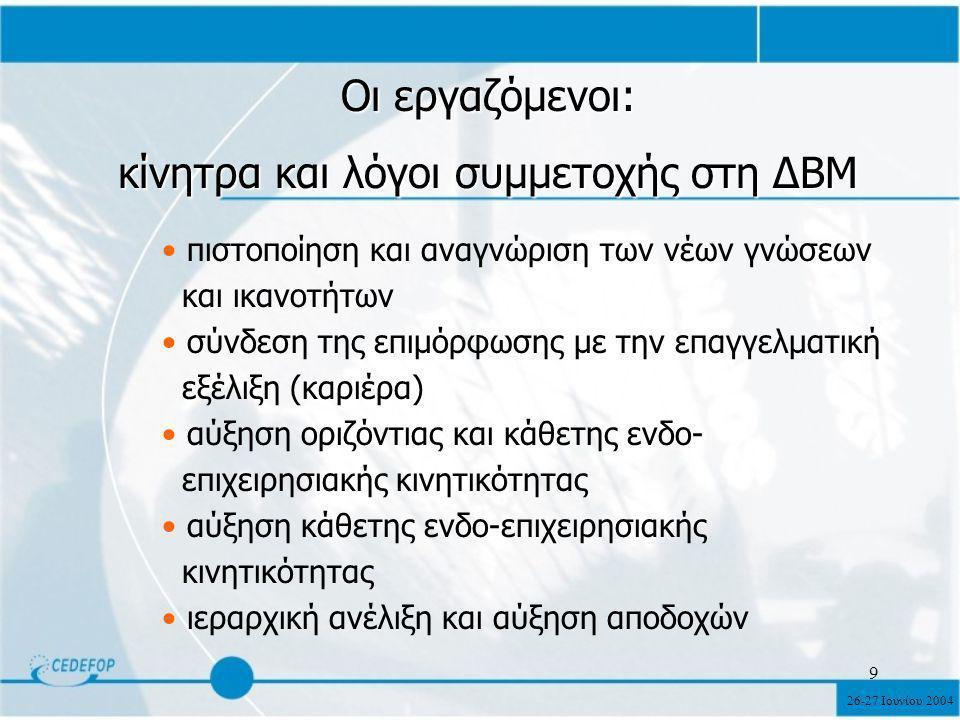 26-27 Ιουνίου 2004 9 Οι εργαζόμενοι: κίνητρα και λόγοι συμμετοχής στη ΔΒΜ πιστοποίηση και αναγνώριση των νέων γνώσεων και ικανοτήτων σύνδεση της επιμόρφωσης με την επαγγελματική εξέλιξη (καριέρα) αύξηση οριζόντιας και κάθετης ενδο- επιχειρησιακής κινητικότητας αύξηση κάθετης ενδο-επιχειρησιακής κινητικότητας ιεραρχική ανέλιξη και αύξηση αποδοχών