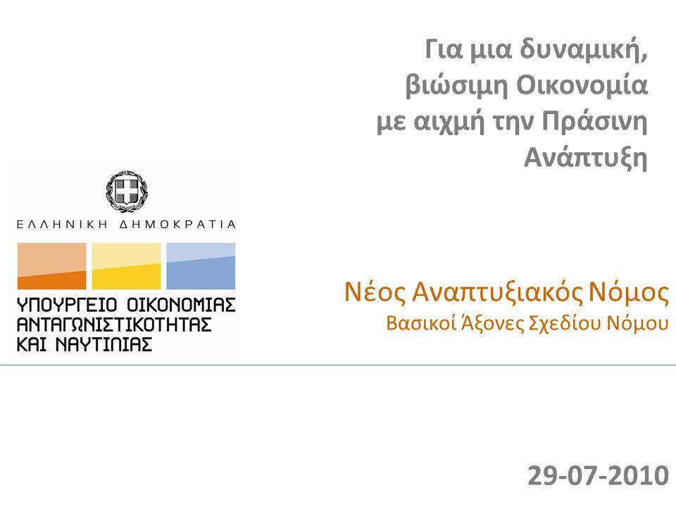 Νέος Αναπτυξιακός Νόμος Βασικοί Άξονες Σχεδίου Νόμου Για μια δυναμική, βιώσιμη Οικονομία με αιχμή την Πράσινη Ανάπτυξη 29-07-2010