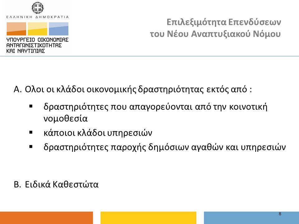 Επιλεξιμότητα Επενδύσεων του Νέου Αναπτυξιακού Νόμου A. Ολοι οι κλάδοι οικονομικής δραστηριότητας εκτός από :  δραστηριότητες που απαγορεύονται από τ