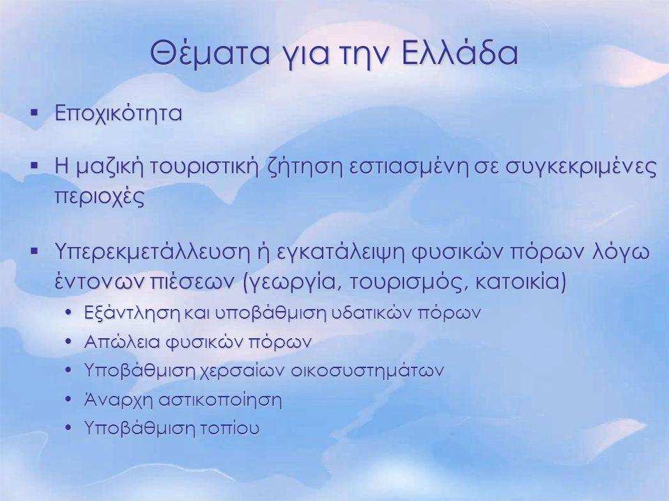 Θέματα για την Ελλάδα  Εποχικότητα  Η μαζική τουριστική ζήτηση εστιασμένη σε συγκεκριμένες περιοχές  Υπερεκμετάλλευση ή εγκατάλειψη φυσικών πόρων λ