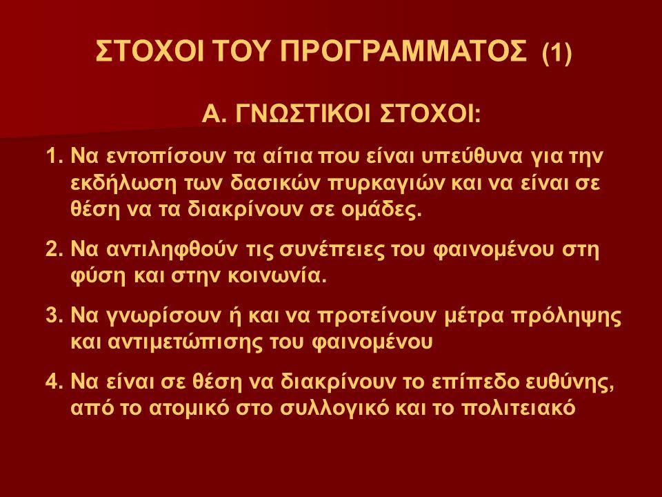 ΣΤΟΧΟΙ ΤΟΥ ΠΡΟΓΡΑΜΜΑΤΟΣ (1) Α.