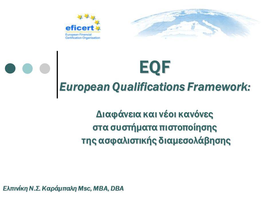 EQF European Qualifications Framework: Διαφάνεια και νέοι κανόνες στα συστήματα πιστοποίησης της ασφαλιστικής διαμεσολάβησης της ασφαλιστικής διαμεσολ