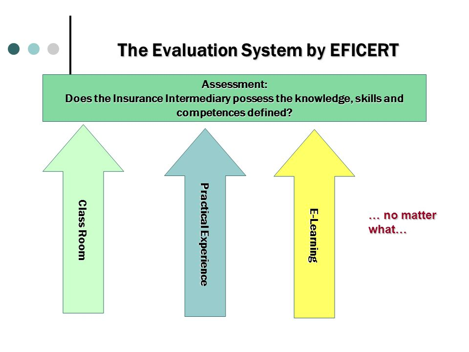 Τhe Evaluation System by EFICERT Assessment: Does the Insurance Intermediary possess the knowledge, skills and competences defined.
