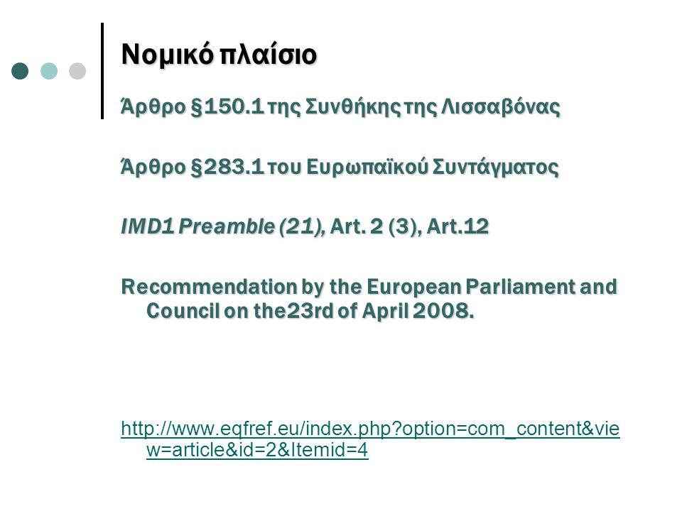 Νομικό πλαίσιο Άρθρο §150.1 της Συνθήκης της Λισσαβόνας Άρθρο §283.1 του Ευρωπαϊκού Συντάγματος IMD1 Preamble (21), Art. 2 (3), Art.12 Recommendation