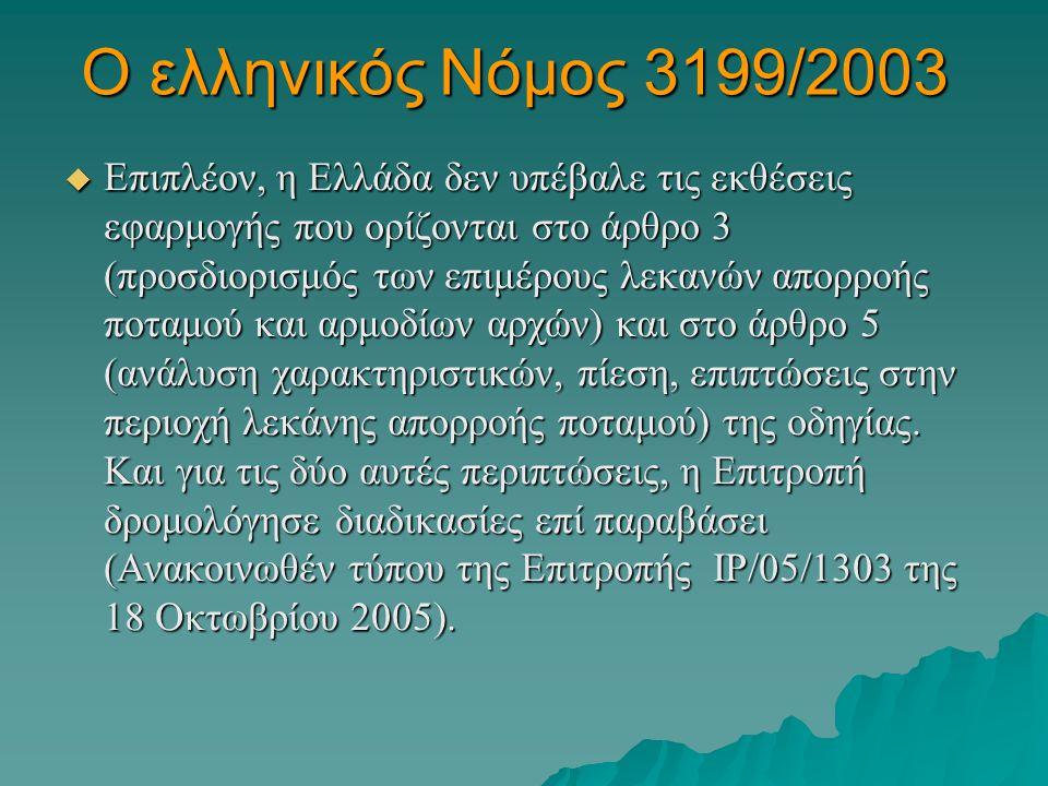 Ο ελληνικός Νόμος 3199/2003  Επιπλέον, η Ελλάδα δεν υπέβαλε τις εκθέσεις εφαρμογής που ορίζονται στο άρθρο 3 (προσδιορισμός των επιμέρους λεκανών απο