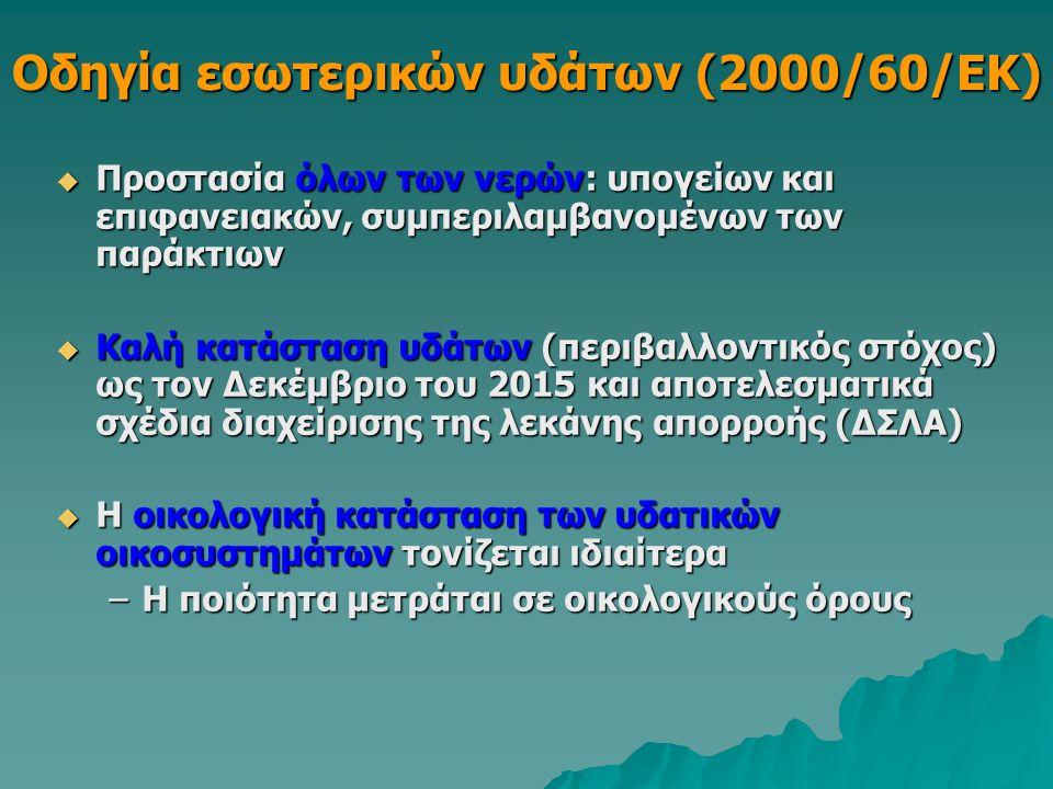 Οδηγία εσωτερικών υδάτων (2000/60/ΕΚ)  Προστασία όλων των νερών: υπογείων και επιφανειακών, συμπεριλαμβανομένων των παράκτιων  Καλή κατάσταση υδάτων