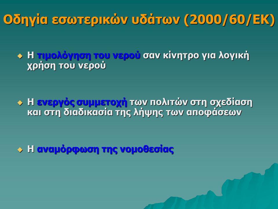 Οδηγία εσωτερικών υδάτων (2000/60/ΕΚ)  Η τιμολόγηση του νερού σαν κίνητρο για λογική χρήση του νερού  Η ενεργός συμμετοχή των πολιτών στη σχεδίαση κ