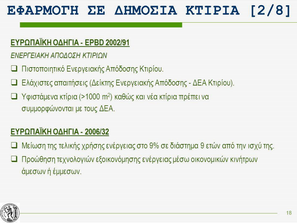 18 ΕΥΡΩΠΑΪΚΗ ΟΔΗΓΙΑ - EPBD 2002/91 ΕΝΕΡΓΕΙΑΚΗ ΑΠΟΔΟΣΗ ΚΤΙΡΙΩΝ  Πιστοποιητικό Ενεργειακής Απόδοσης Κτιρίου.  Ελάχιστες απαιτήσεις (Δείκτης Ενεργειακή