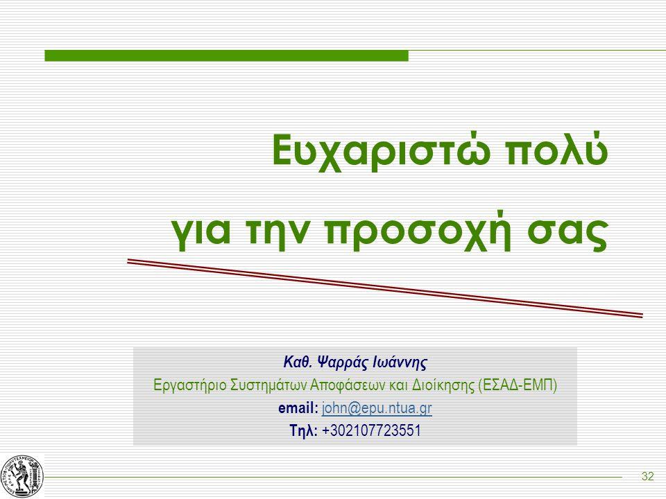 32 Ευχαριστώ πολύ για την προσοχή σας Καθ. Ψαρράς Ιωάννης Εργαστήριο Συστημάτων Αποφάσεων και Διοίκησης (ΕΣΑΔ-ΕΜΠ) email: john@epu.ntua.gr Τηλ: +30210