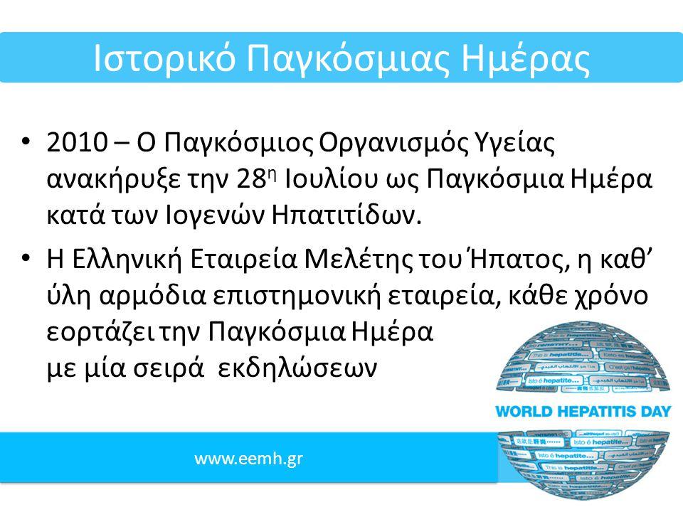 www.eemh.gr Ιστορικό Παγκόσμιας Ημέρας 2010 – Ο Παγκόσμιος Οργανισμός Υγείας ανακήρυξε την 28 η Ιουλίου ως Παγκόσμια Ημέρα κατά των Ιογενών Ηπατιτίδων.