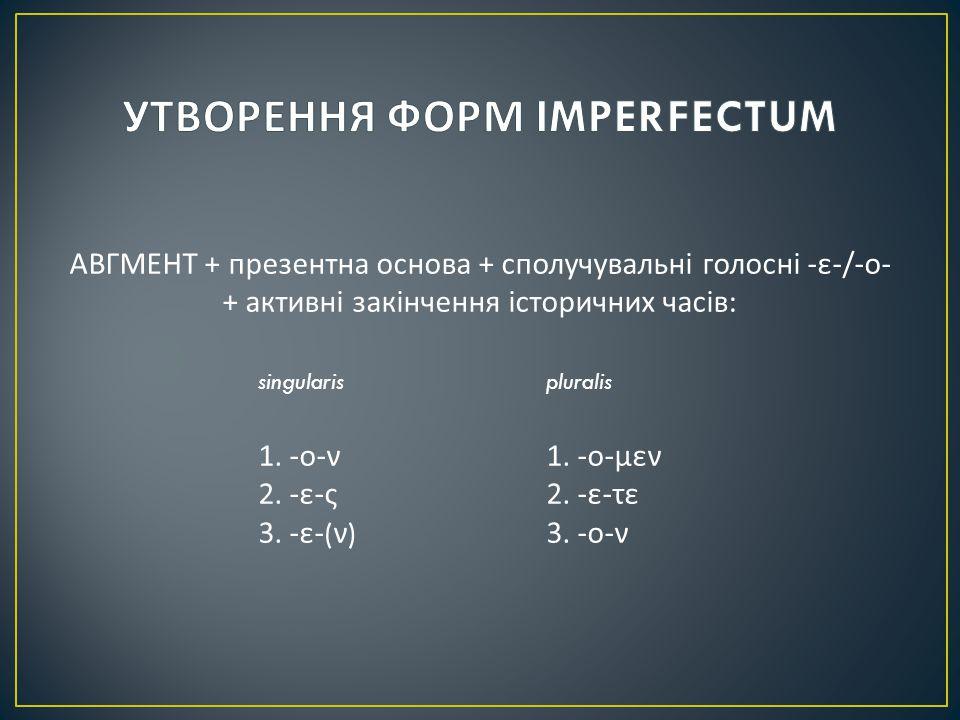АВГМЕНТ + презентна основа + сполучувальні голосні - ε -/- ο - + активні закінчення історичних часів : singularispluralis 1.