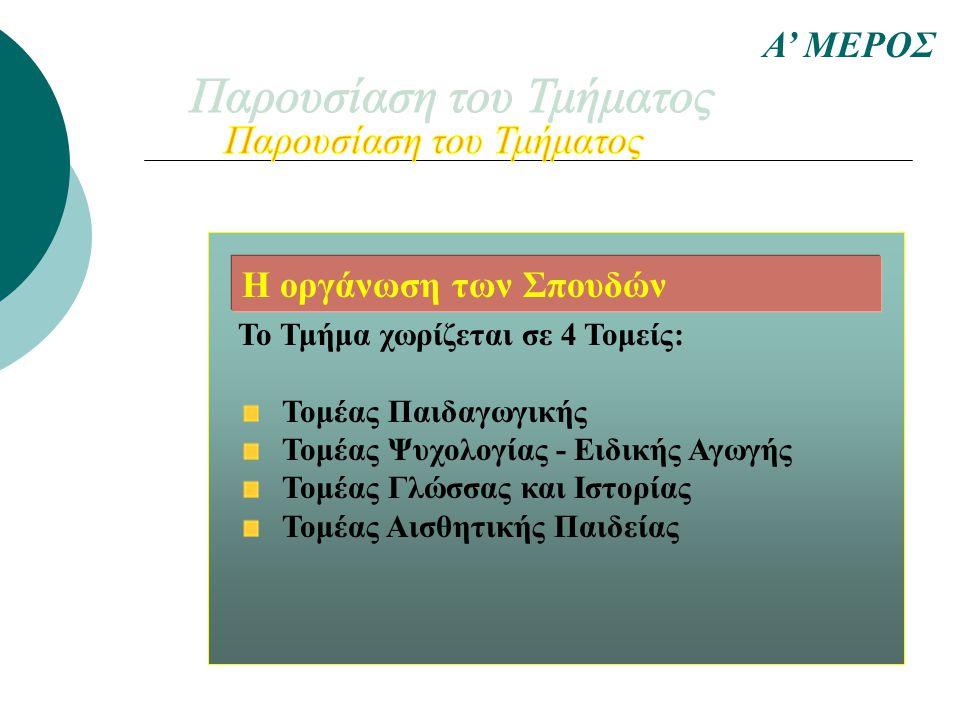 Το Τμήμα χωρίζεται σε 4 Τομείς: Τομέας Παιδαγωγικής Τομέας Ψυχολογίας - Ειδικής Αγωγής Τομέας Γλώσσας και Ιστορίας Τομέας Αισθητικής Παιδείας Α' ΜΕΡΟΣ Η οργάνωση των Σπουδών