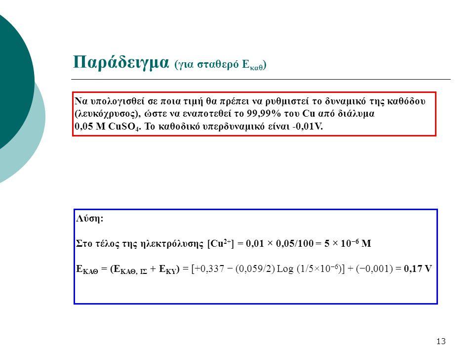 13 Παράδειγμα (για σταθερό Ε καθ ) Να υπολογισθεί σε ποια τιμή θα πρέπει να ρυθμιστεί το δυναμικό της καθόδου (λευκόχρυσος), ώστε να εναποτεθεί το 99,