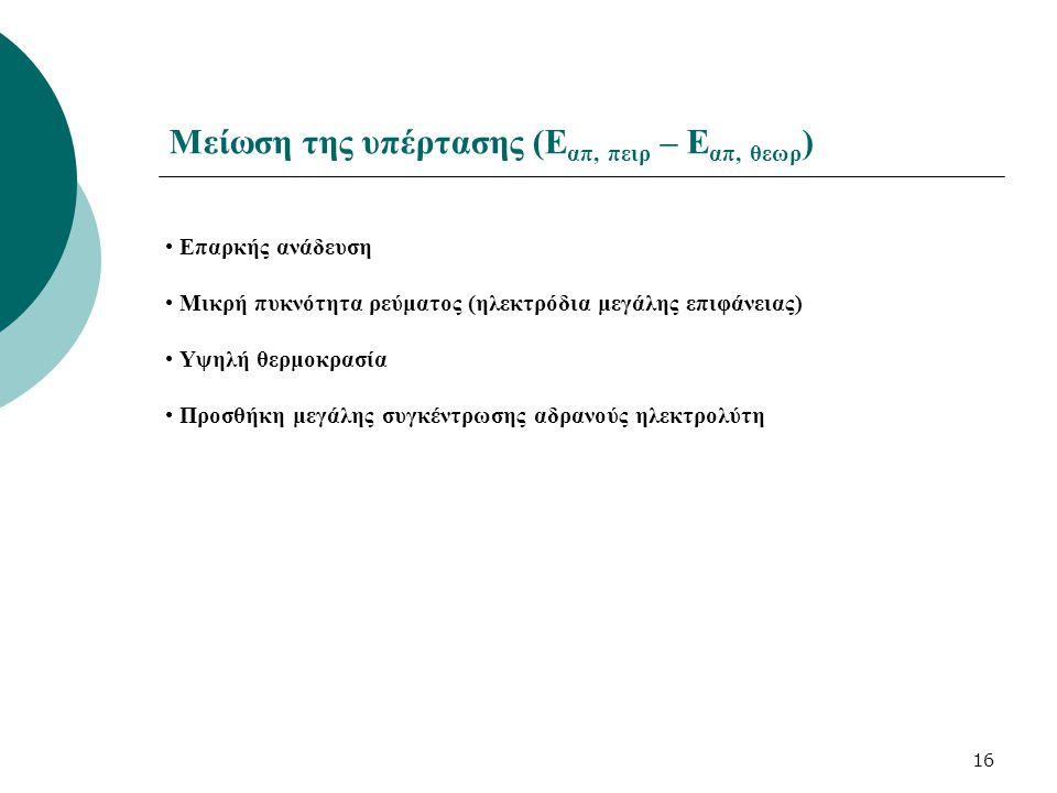 16 Μείωση της υπέρτασης (Ε απ, πειρ – Ε απ, θεωρ ) Επαρκής ανάδευση Μικρή πυκνότητα ρεύματος (ηλεκτρόδια μεγάλης επιφάνειας) Υψηλή θερμοκρασία Προσθήκ