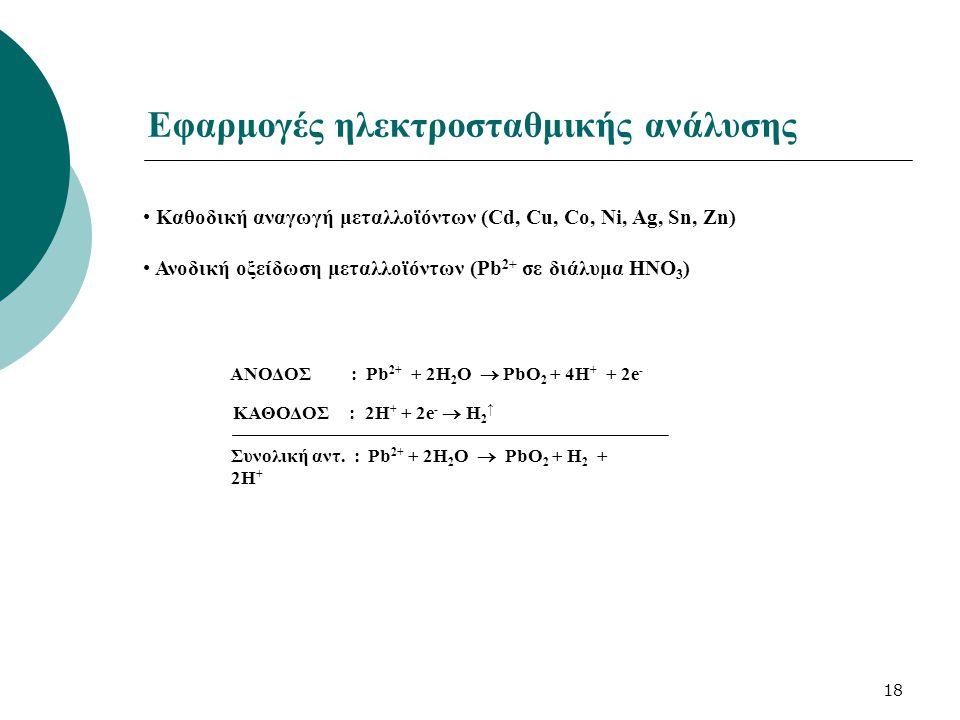 18 Εφαρμογές ηλεκτροσταθμικής ανάλυσης Καθοδική αναγωγή μεταλλοϊόντων (Cd, Cu, Co, Ni, Ag, Sn, Zn) Ανοδική οξείδωση μεταλλοϊόντων (Pb 2+ σε διάλυμα ΗΝ