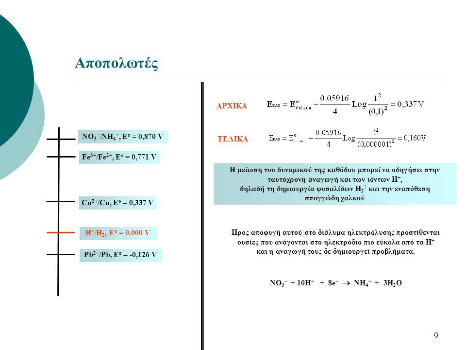 9 Αποπολωτές Η μείωση του δυναμικού της καθόδου μπορεί να οδηγήσει στην ταυτόχρονη αναγωγή και των ιόντων Η +, δηλαδή τη δημιουργία φυσαλίδων Η 2 ↑ κα