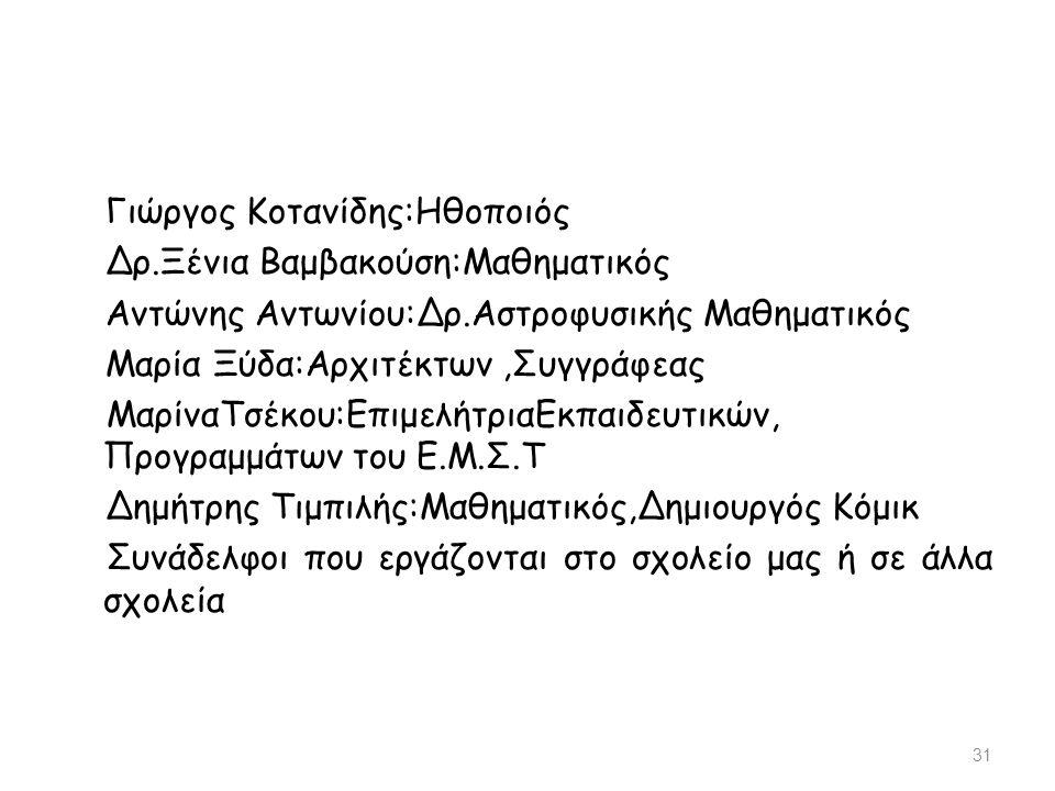 Γιώργος Κοτανίδης:Ηθοποιός Δρ.Ξένια Βαμβακούση:Μαθηματικός Αντώνης Αντωνίου:Δρ.Αστροφυσικής Μαθηματικός Μαρία Ξύδα:Αρχιτέκτων,Συγγράφεας ΜαρίναΤσέκου: