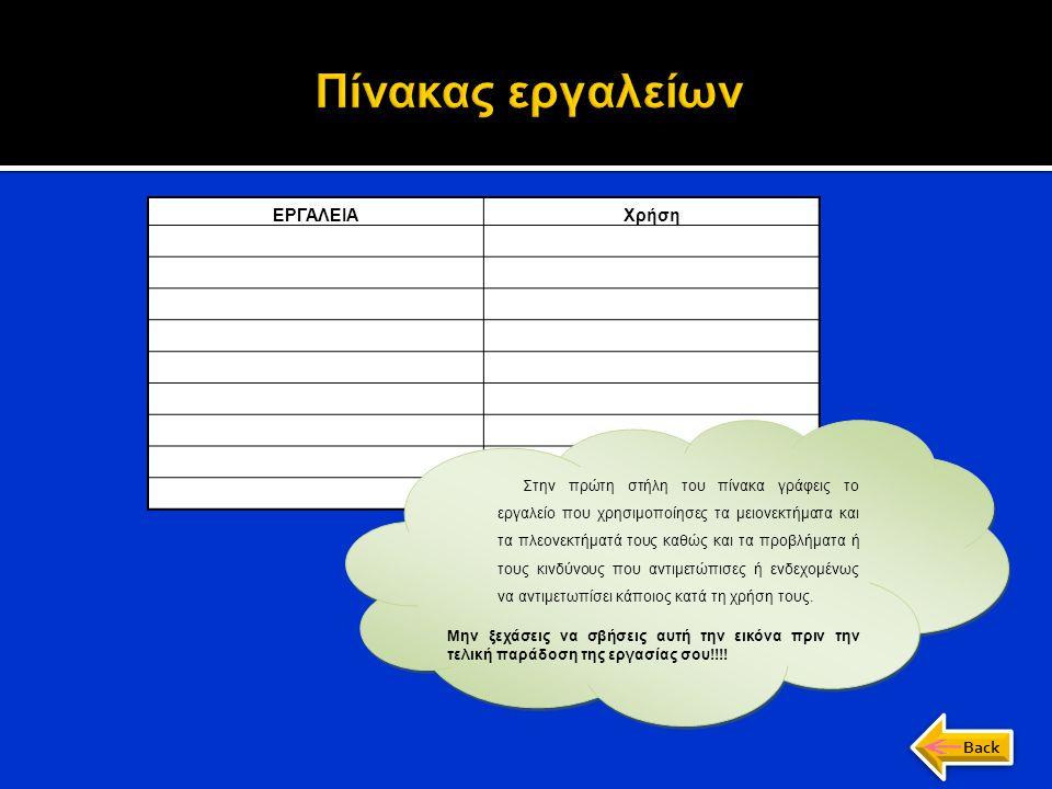 ΕΡΓΑΛΕΙΑΧρήση α) Κατάλογος εργαλείων Στην πρώτη στήλη του πίνακα γράφεις το εργαλείο που χρησιμοποίησες τα μειονεκτήματα και τα πλεονεκτήματά τους καθ