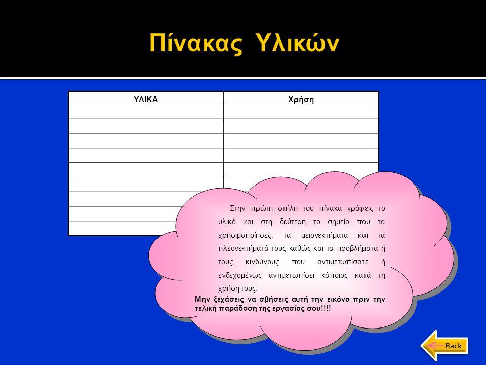 ΥΛΙΚΑΧρήση α) Κατάλογος εργαλείων Στην πρώτη στήλη του πίνακα γράφεις το υλικό και στη δεύτερη το σημείο που το χρησιμοποίησες. τα μειονεκτήματα και τ