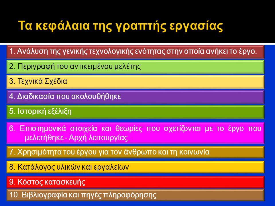 6. Επιστημονικά στοιχεία και θεωρίες που σχετίζονται με το έργο που μελετήθηκε - Αρχή λειτουργίας. 8. Κατάλογος υλικών και εργαλείων 7. Χρησιμότητα το