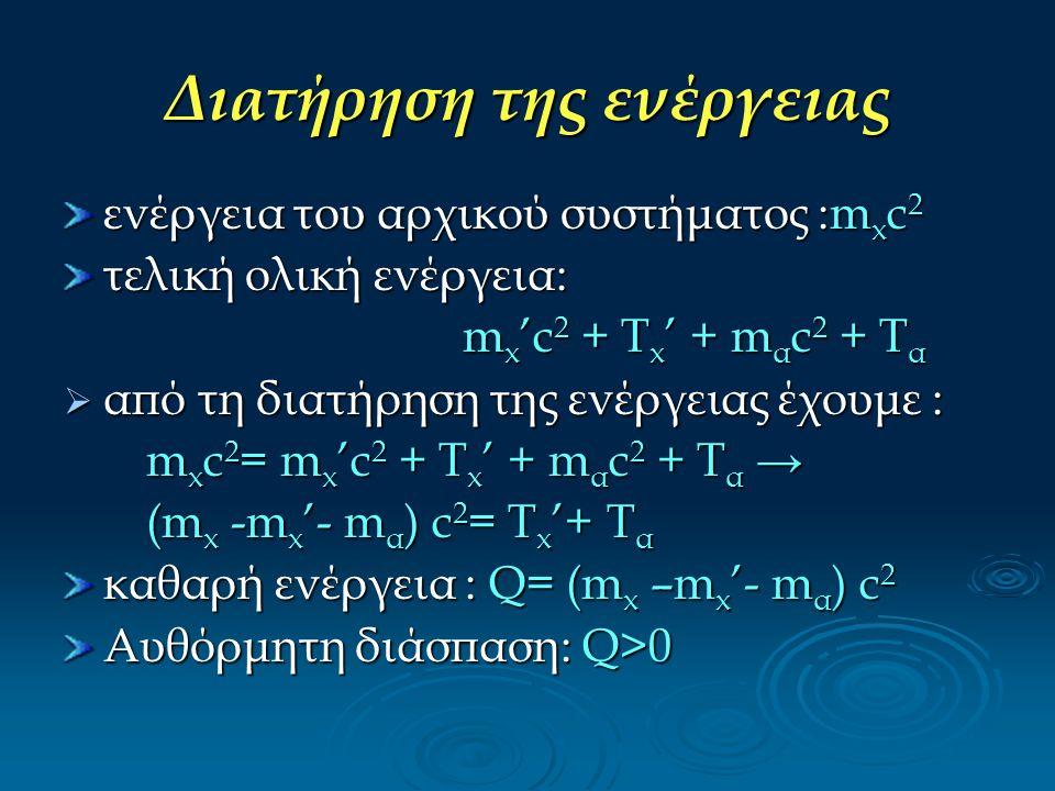 Διατήρηση της ενέργειας ενέργεια του αρχικού συστήματος :m x c 2 τελική ολική ενέργεια: m x 'c 2 + T x ' + m α c 2 + T α m x 'c 2 + T x ' + m α c 2 +