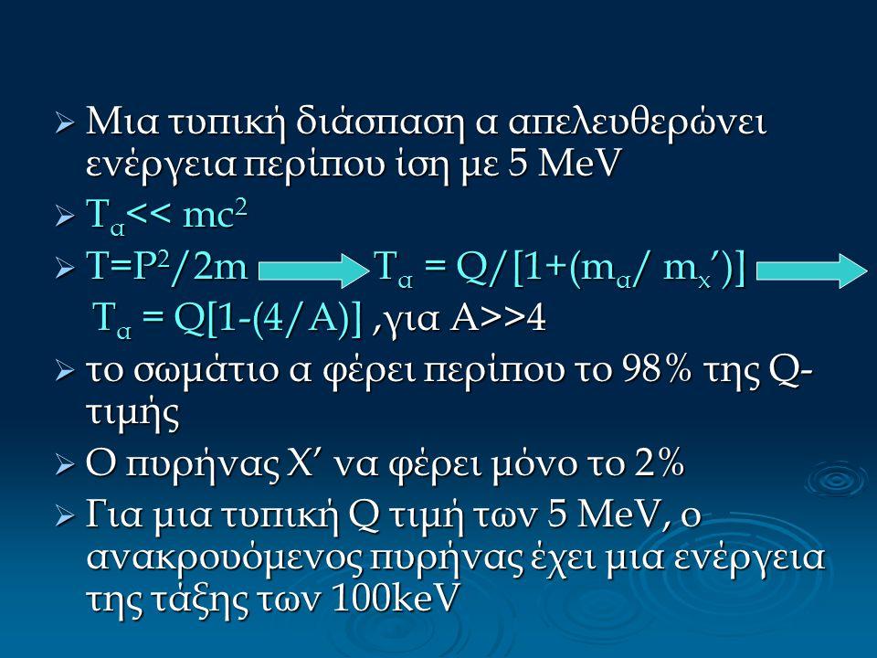  Μια τυπική διάσπαση α απελευθερώνει ενέργεια περίπου ίση με 5 ΜeV  Τ α << mc 2  Τ=P 2 /2m T α = Q/[1+(m α / m x ')] T α = Q[1-(4/Α)],για Α>>4 T α