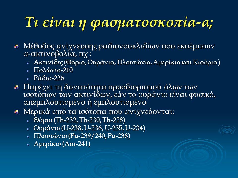 Τι είναι η φασματοσκοπία-α; Μέθοδος ανίχνευσης ραδιονουκλιδίων που εκπέμπουν α-ακτινοβολία, πχ : Ακτινίδες (Θόριο, Ουράνιο, Πλουτώνιο, Αμερίκιο και Κι